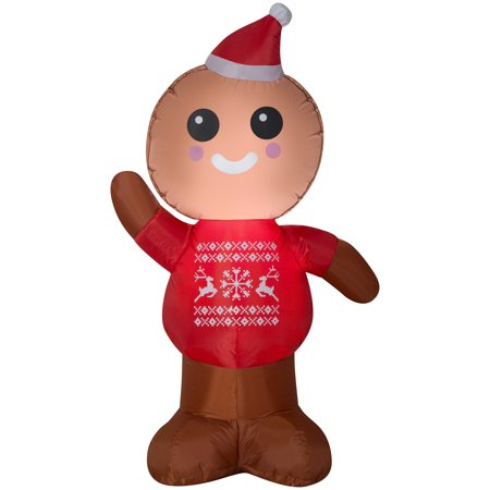 Gemmy Industries Airblown Inflatable Gingerbread Man 4ft Tall (Man City Inflatable Bananas)