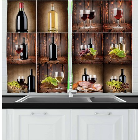 Wine Curtains 2 Panels Set, Wine Themed Collage on Wooden Backdrop with Grapes and Meat Rustic Country Drink, Window Drapes for Living Room Bedroom, 55W X 39L Inches, Brown Black Red, by Ambesonne