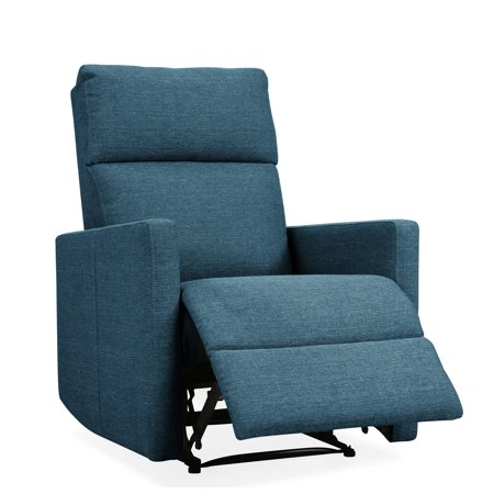 Ovid Power Wall Hugger Reclining Chair with USB Port in Blue Linen ()