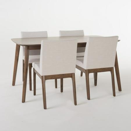 Moreno 60-inch Rectangular 5-Piece Dining Set, Light Beige/ Natural Walnut Finish ()