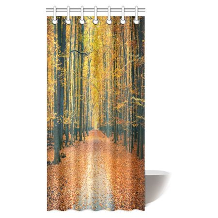 MYPOP Fall Trees Shower Curtain Nature Theme Bright Autumn Forest A Pathway With Fallen Leaves