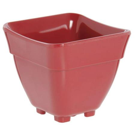 Food Pan 1/6 Size Red Melamine Curveware Pan - 5 1/2 L x 5