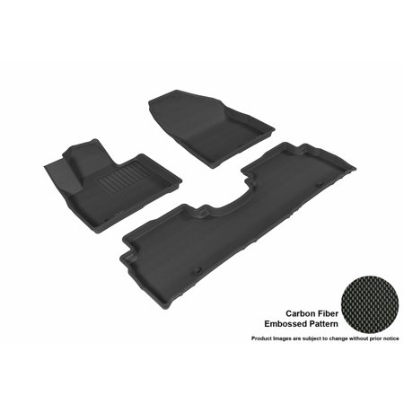 3D Maxpider 2016 2017 Kia Sorento Front   Second Row Set All Weather Floor Mats In Black With Carbon Fiber Look