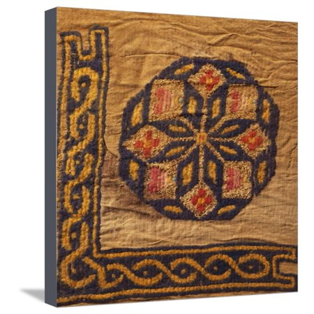 - A Coptic Textile Fragment Containing a Medallion with a Corner Border Stretched Canvas Print Wall Art