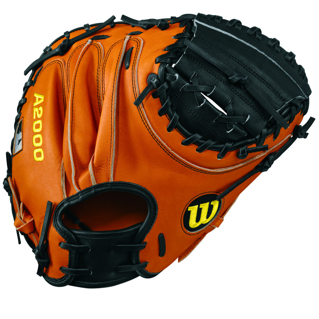 Wilson A2000 inRoadin PUDGE Baseball Catchers Mitt, 32.5in, Black Orange Tan, Right Hand Throw 32.50in by Wilson