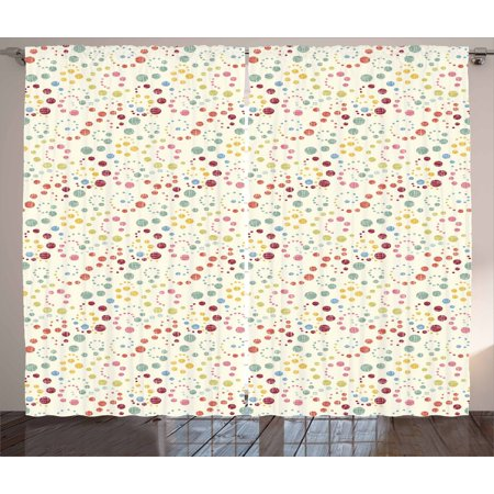 Abstract Curtains 2 Panels Set, Traditional Polka Dots with Colorful Summer Vibes Retro Look Vibrant Swirl Designs, Window Drapes for Living Room Bedroom, 108W X 63L Inches, Multicolor, by Ambesonne