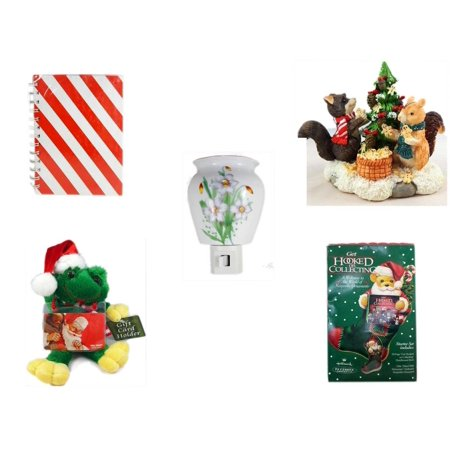 Christmas Fun Gift Bundle [5 Piece] - Michaels Red & White Stripe Journal -  Forest Friends Gingerbread Tree Resin Figurine - Flower Nightlight Lily -
