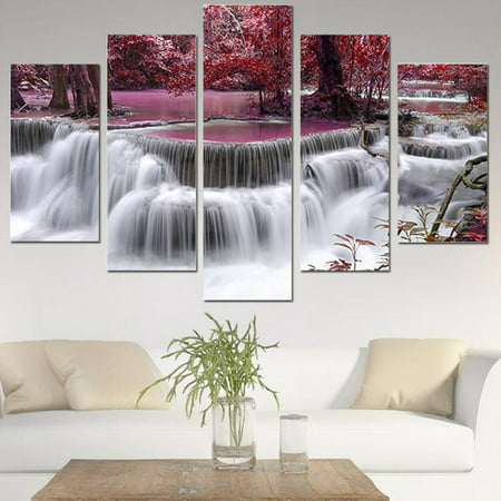 Unframed 5 Panel Modern Abstract Red Tree Forest Waterfall Modern Home Wall Art Oil Painting Picture Canvas (Water Resistant Inkjet Canvas)