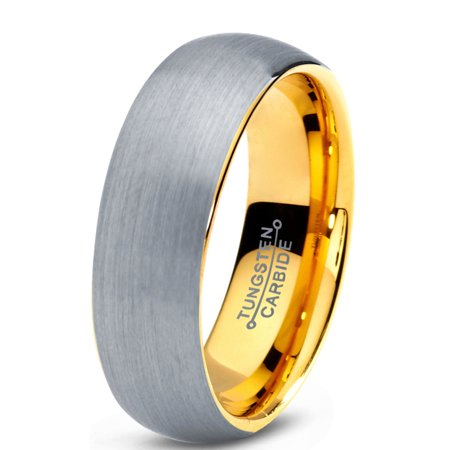 Tungsten Wedding Band Ring 7mm for Men Women Comfort Fit 18K Yellow Gold Plated Plated Domed Brushed Lifetime Guarantee 7mm Diamond Designer Band