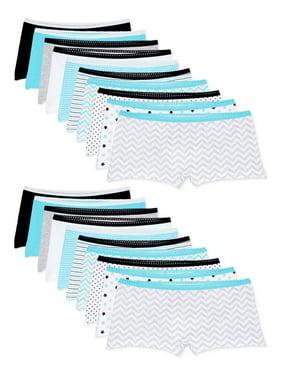 Wonder Nation Girls Boyshort Underwear, 20 Pack Panties 4-18 & Plus