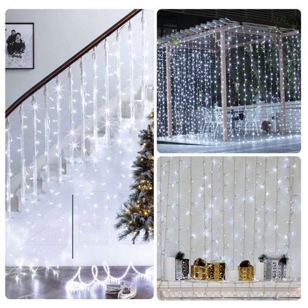 Window Curtain Icicle Lights, 304 LEDs String Fairy Starry Twinkle Stars Curtain Lights Indoor Outdoor Wall Window Curtain String Lights for Bedroom Party Wedding Christmas Decor ()