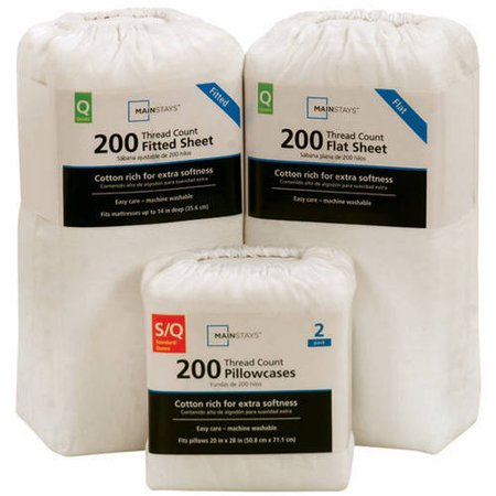 Mainstays 200 Thread Count Standard Pillowcase - Arctic White