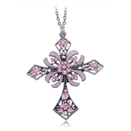 Enamel Flower Daisy - Pink Rose Daisy Flower Design Enamel Fashion French Holy Cross Pendant Necklace