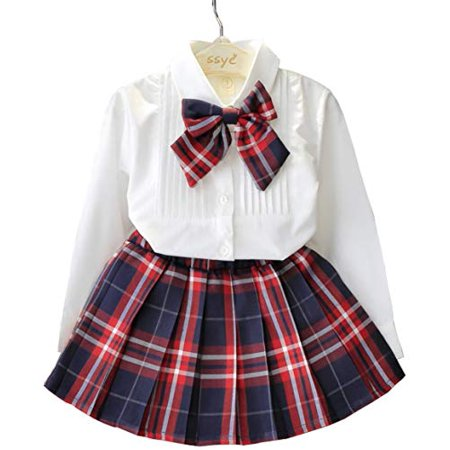 Japanese School Girls Sailor Shirts Tartan Pleated Skirt Uniform Anime Cosplay Costumes with Socks for Kids(XF01)100 for 3~4year old