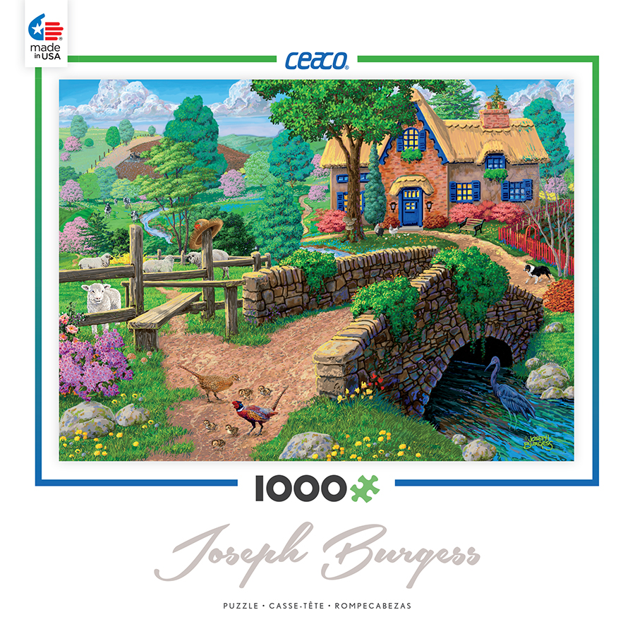 Ceaco 1000 Piece Jigsaw Puzzle Joseph Burgess - Fence Steps Cottage #3384-03
