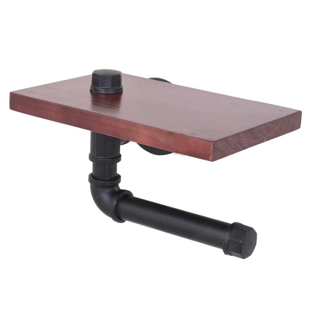 Rack Rustic Wooden Shelf Toilet Paper Holder Roller Wall Mount Iron Pipe