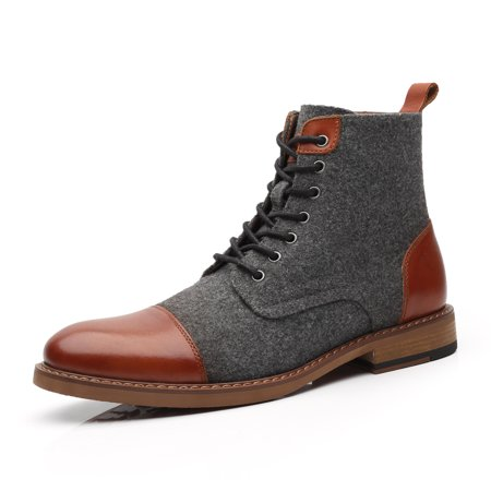 La Milano Mens Winter Dress Boots Cap Toe Lace up Leather Oxford Comfortable Natural Wool Ankle Jack Boots for Men