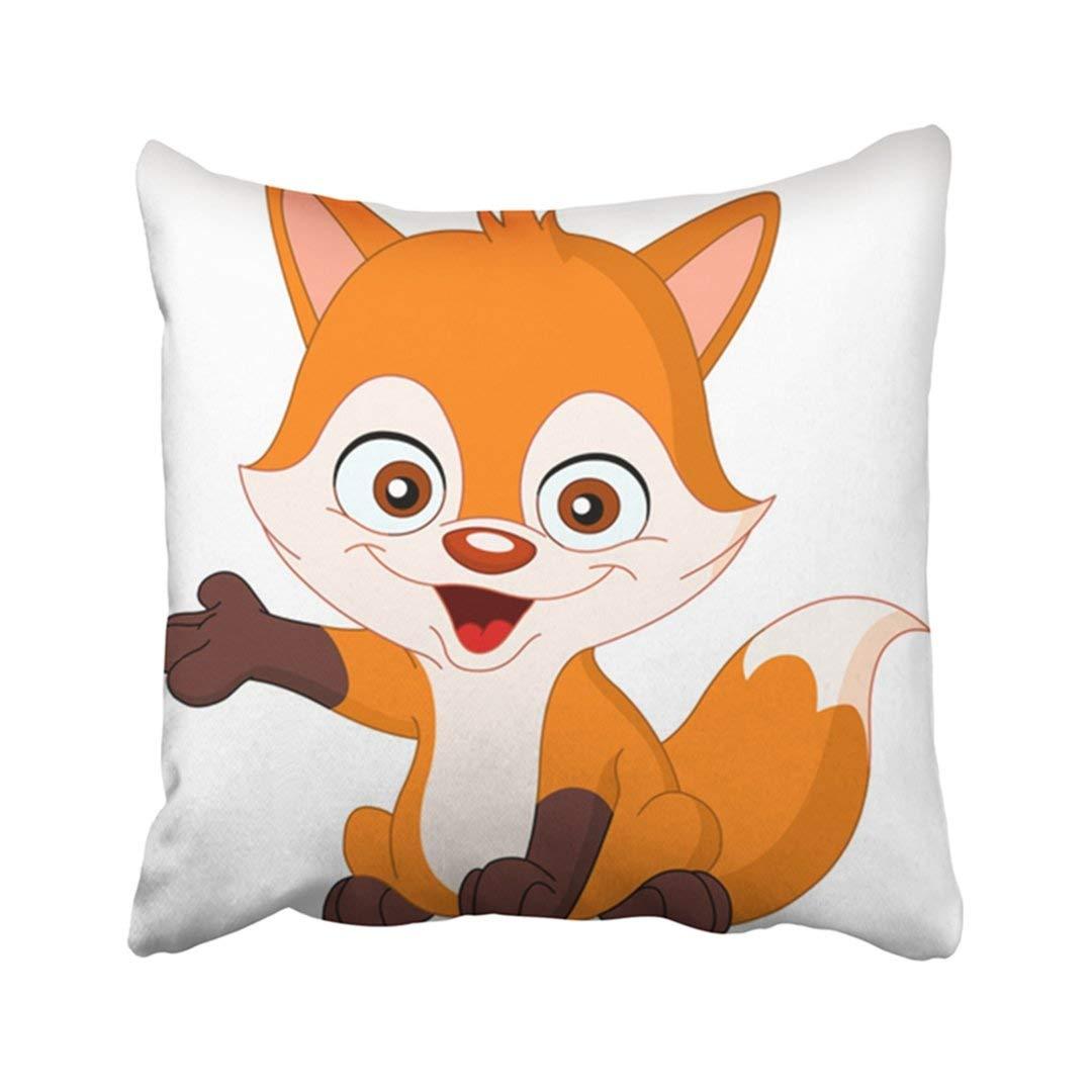 WOPOP Orange Cartoon Cute Baby Fox Presenting Red Animal Sweet Clip Wolf Talking Wild Kids Pillowcase Pillow Cover 18x18 inches