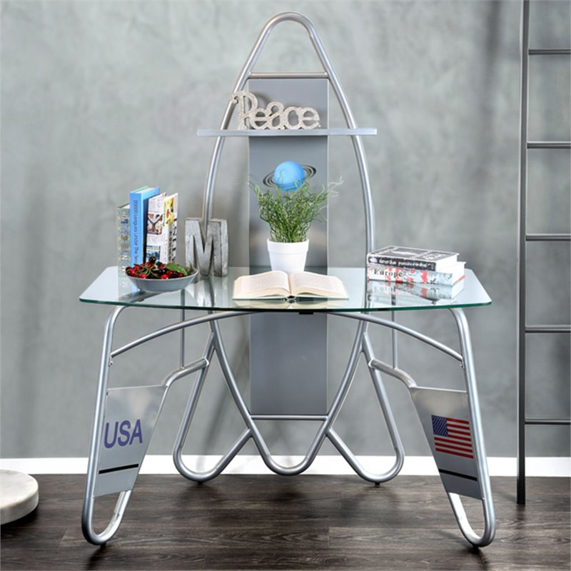 Furniture of America Astro Glass Top Kids Spaceship Desk in Silver