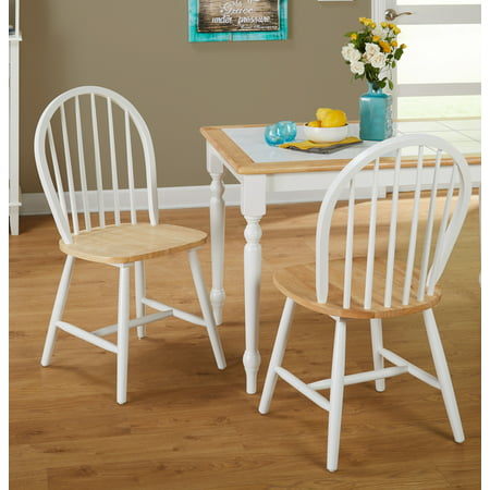 Swivel Windsor Chairs (Windsor Dining Chair, White/Natural, Set of 2 )