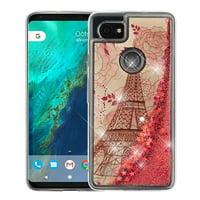 Valor Quicksand Glitter Eiffel Tower Hard Plastic/Soft TPU Rubber Case Cover For Google Pixel 2 XL, Multi-Color