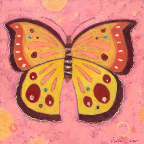 Oopsy Daisy - Pink Peace Butterfly Canvas Wall Art 21x21, Jenny Kostecki-Shaw