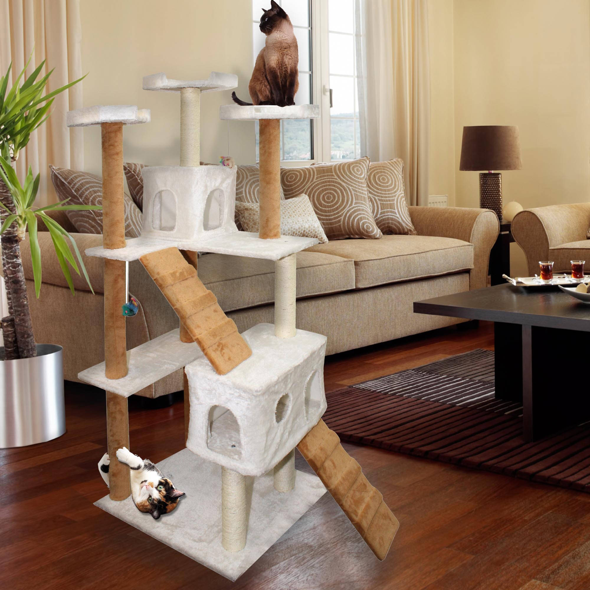 "Premium Cat Tree Tower Condo Scratch Furniture, 72"", Tan and White"