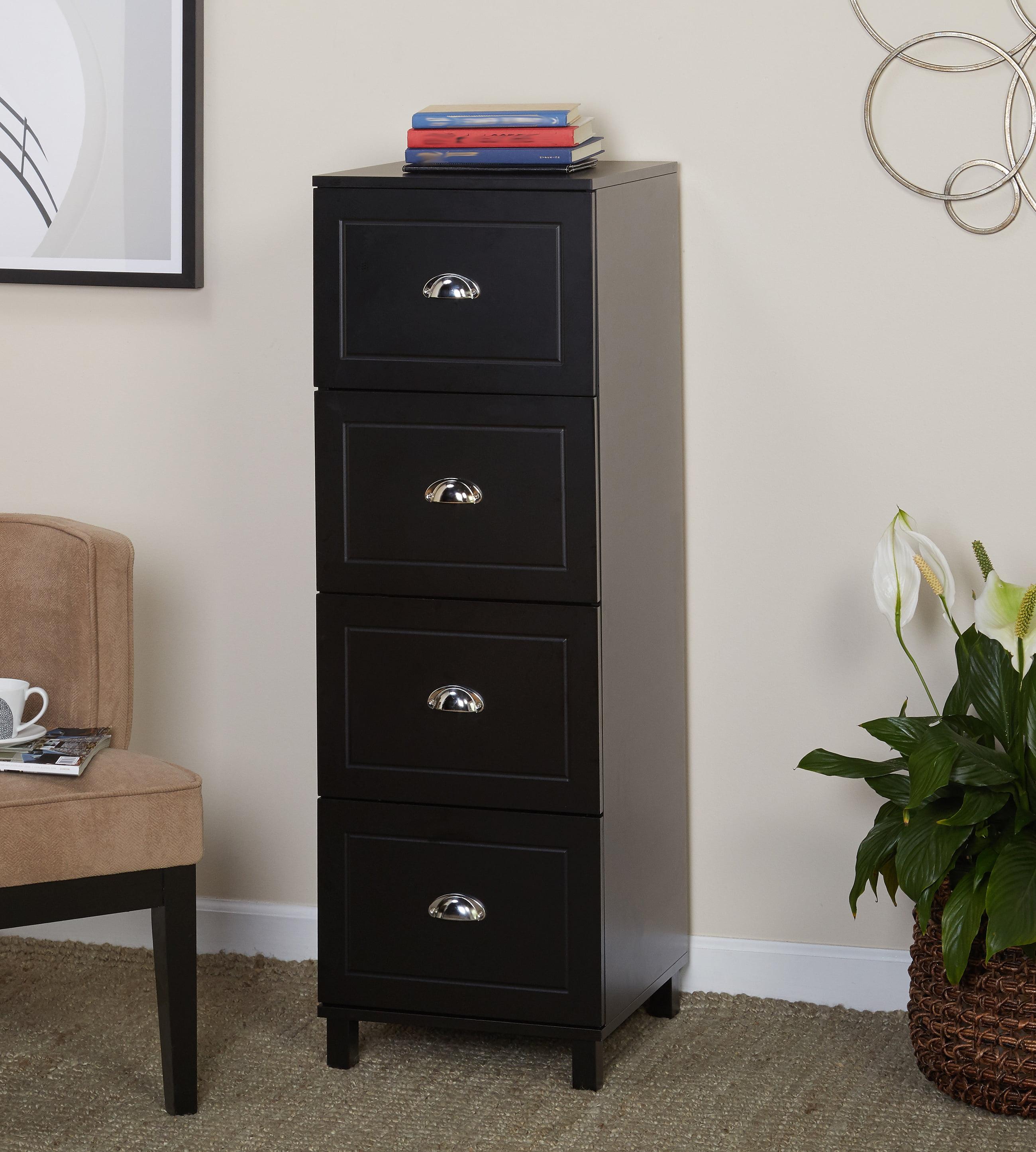 Bradley 4 Drawer Vertical Wood Filing Cabinet Black Walmartcom