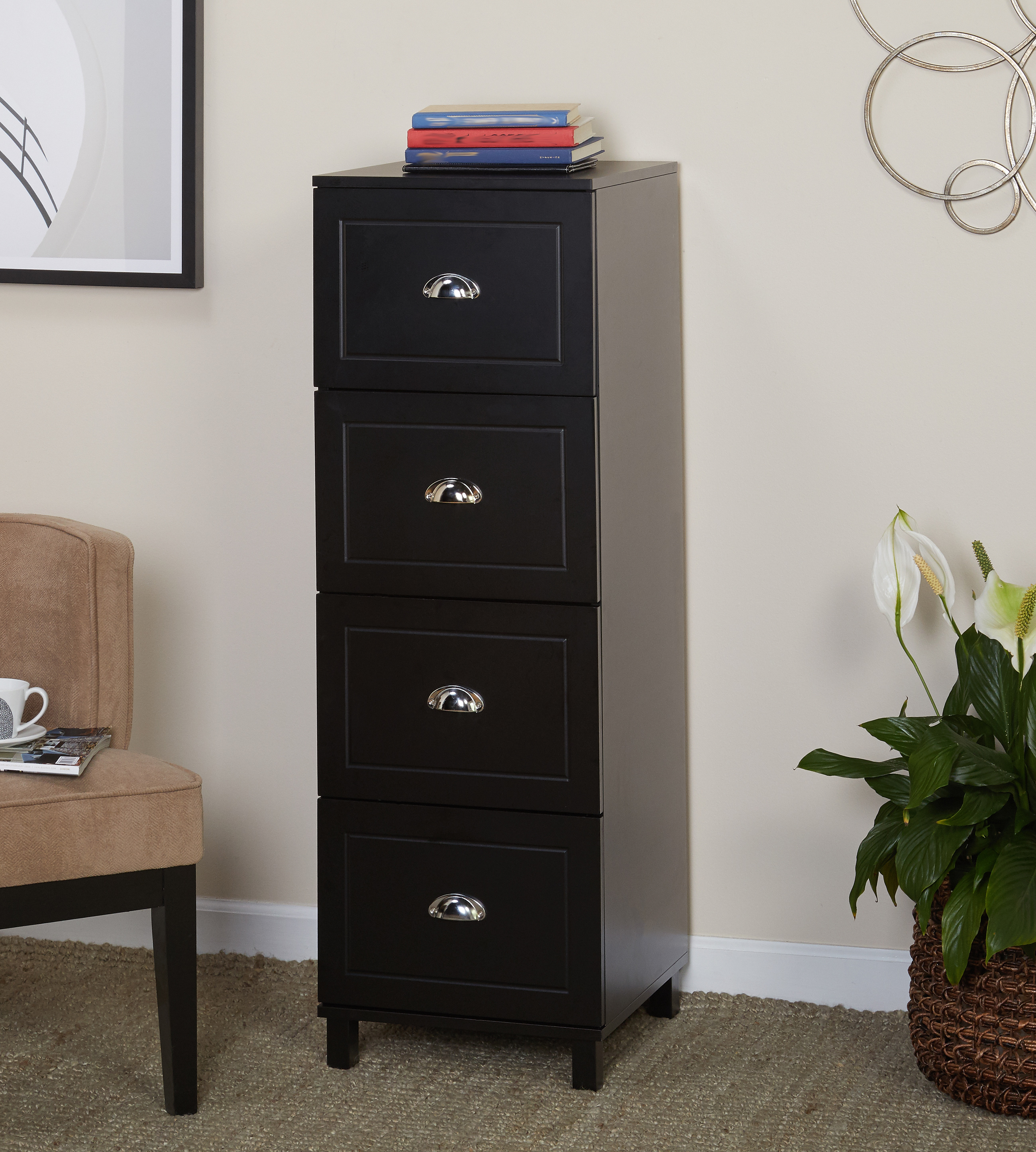 Product Image Bradley 4 Drawer Vertical Wood Filing Cabinet, Black