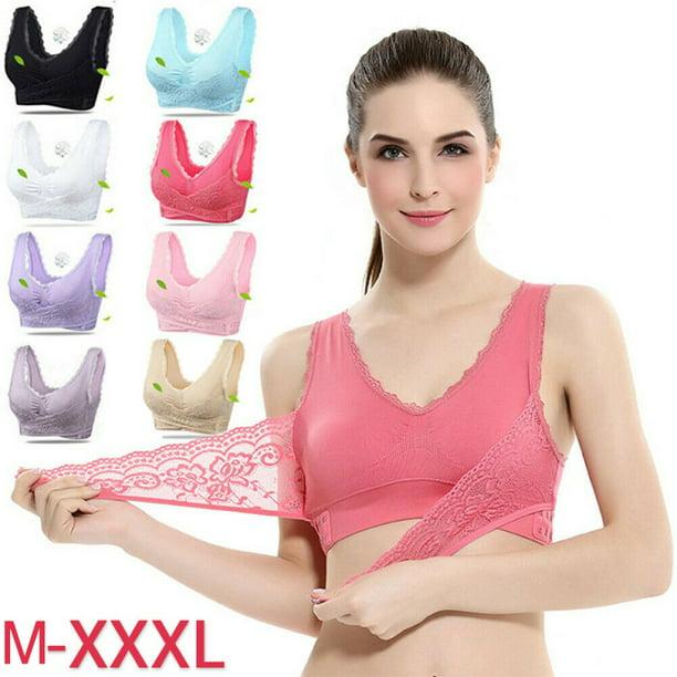 Breathable Front Cross Side Buckle Wireless Lace Bra Soft for Women Sport Yoga