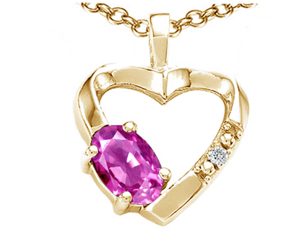 Tommaso Design Oval 6x4 mm Genuine Pink Tourmaline Heart Pendant Necklace by