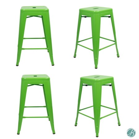 """- SET OF 4 Metal Bar Stool 24"""" MILANI LAWN GREEN Stackable, Indoor/Outdoor, Counter Stools, Kitchen Bar Stools, Industrial, Galvanized Steel, Counter Stool"""