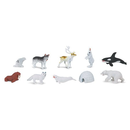 Arctic Toob With 10 Fun Figurines  Including A Harp Seal  Husky  Caribou  Arctic Rabbit  Killer Whale  Walrus  Arctic Fox  Beluga Whale  Igloo    By Safari Ltd