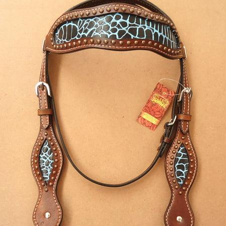 HILASON WESTERN LEATHER HORSE BRIDLE HEADSTALL BROWN CROCODILE BLACK - Brown Crocodile Leather