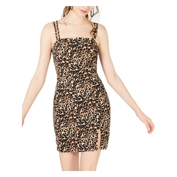 Crystal Doll Womens Juniors Animal Print Faux Wrap Party