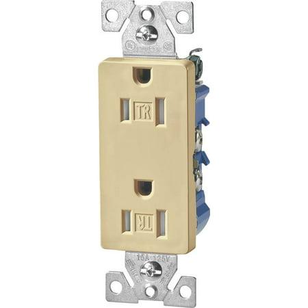 Cooper TR1107V Decorator Tamper Resistant Duplex Receptacle, 125 V, 15 A, 2 Pole, 3 Wire