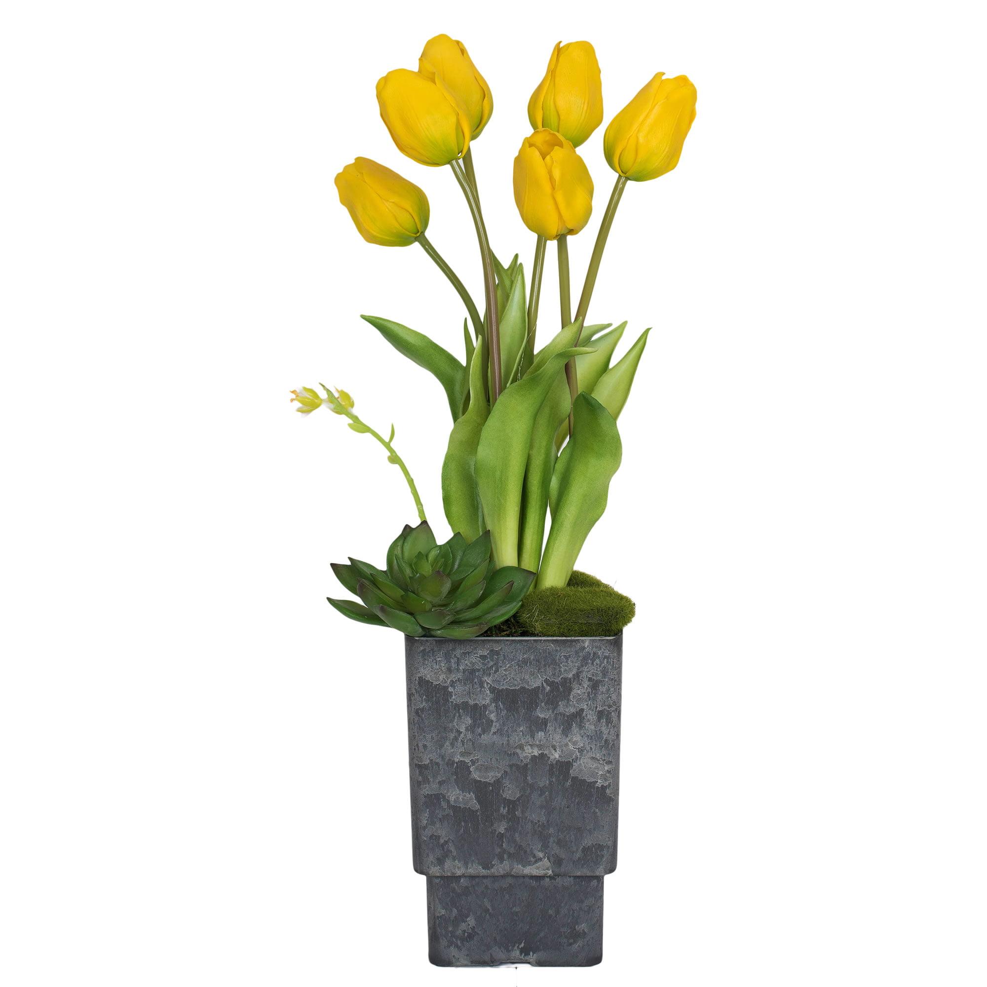 "Vickerman 18"" Purple Tulips in Square Vase"