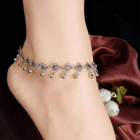 Silver Circular Bracelets - ON SUPER SALE - Beaded Medallion Silver Chain Ankle Bracelet Silver