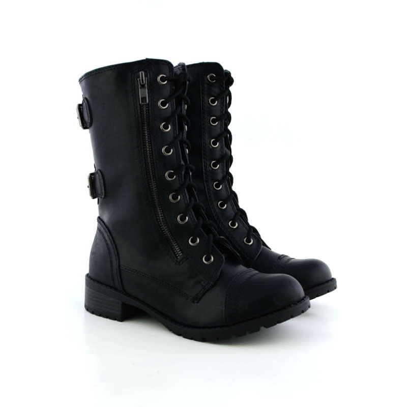 soda dome mid calf height womens military combat boots
