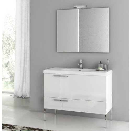 ACF by Nameeks ACF ANS04-GW New Space 39-in. Single Bathroom Vanity Set - Glossy White