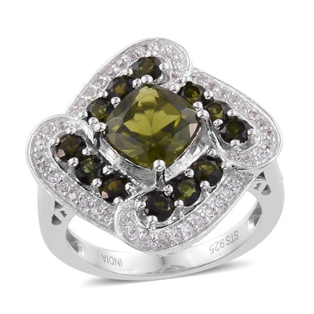 Silver Platinum Plated Cushion Vesuvianite Multi Gemstone Cluster Ring for Women Cttw 2.2