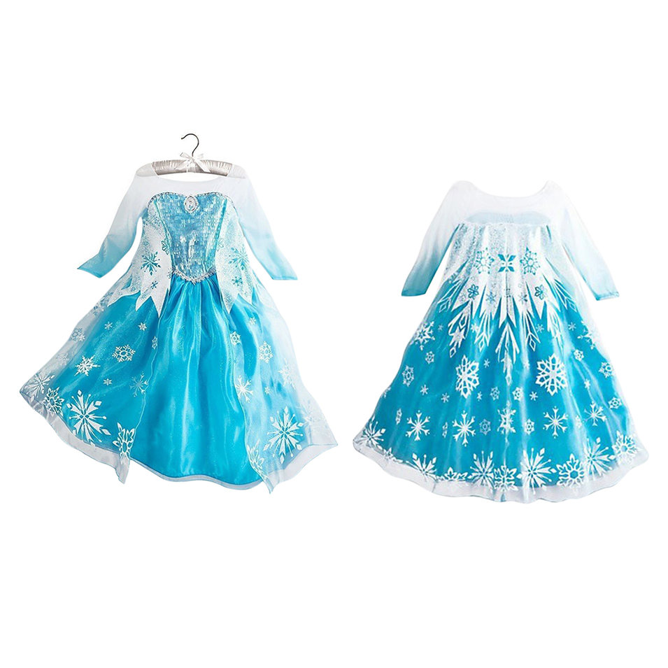 New Elsa Princess Girls Costume Party Fancy Snow Freeze Queen Cape Dress