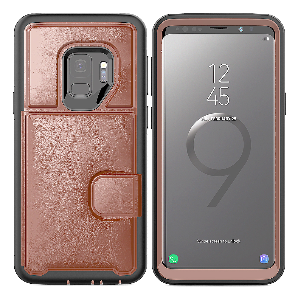 Samsung Galaxy S9 Plus Magnetic Folio Leather Wallet W. Card Slot and Stand Case Cover