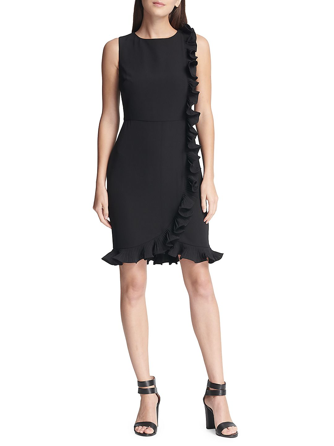 Sleeveless Ruffled Sheath Dress