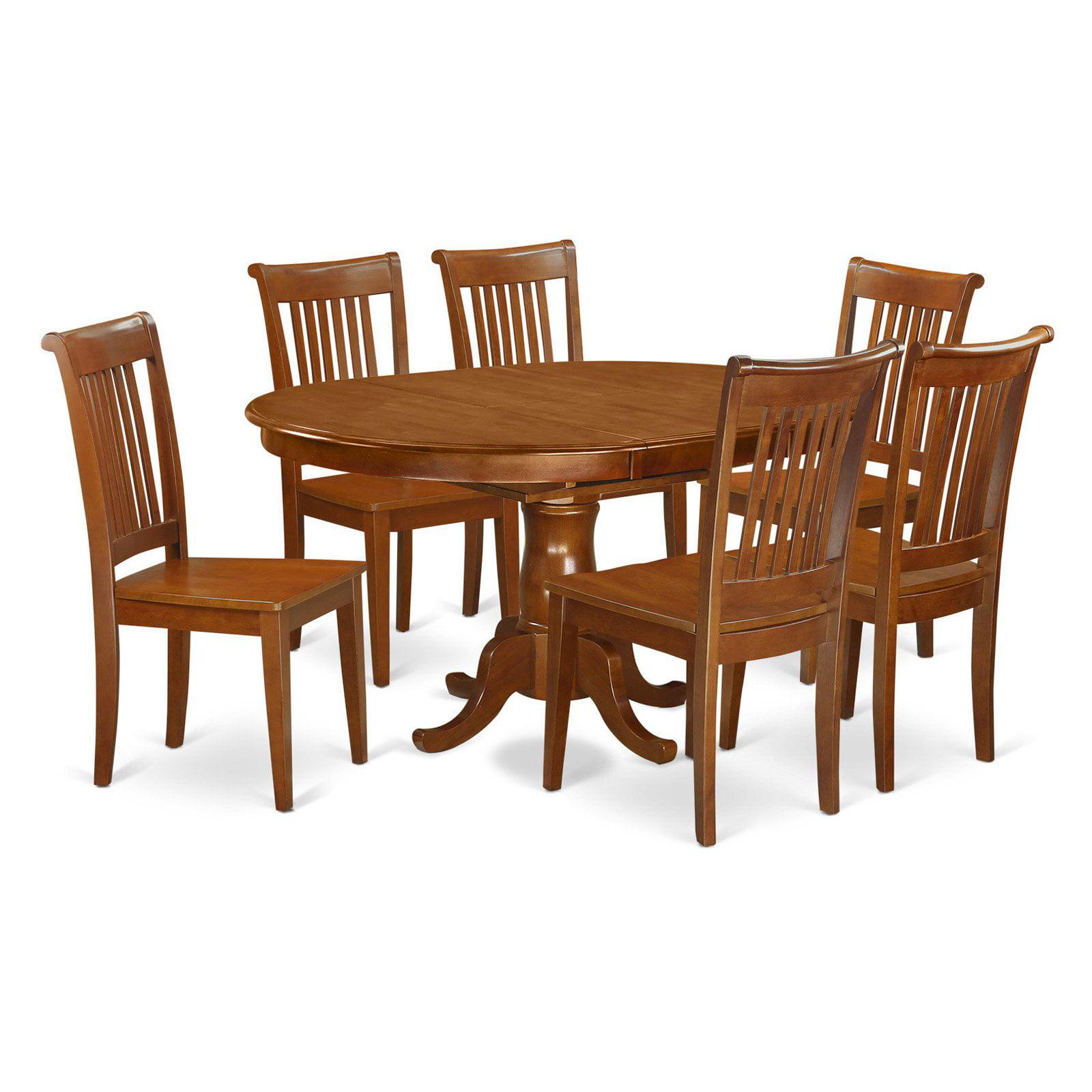 East West Furniture Portland 7 Piece Windsor Dining Table Set