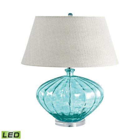 New Product  Recycled Fluted Glass Urn LED Table Lamp In Blue 210-LED Sold by VaasuHomes