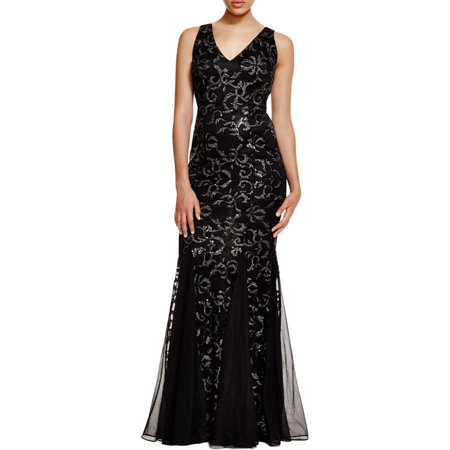 David Meister Womens Metallic Mermaid Formal Dress Black 4](David Dress)