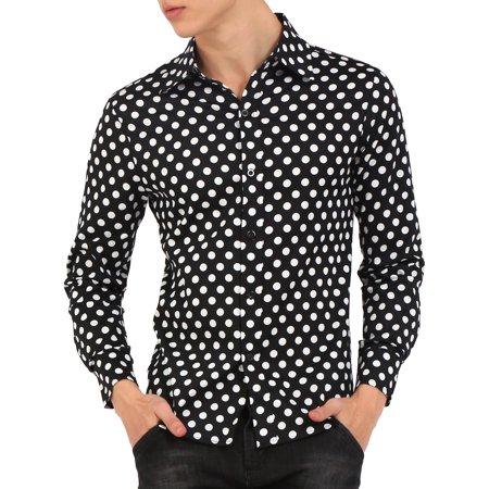 - Men Button Down Classic Fit Dress Shirt Polka Dots