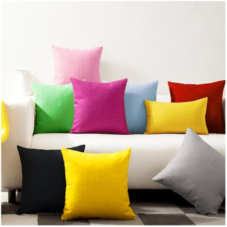 - Solid Color Cotton Canvas Cushion Cover Home Decor Throw Pillow Case Lounge ,Pillow Case, Sofa Cushion Cover(5 Colors Optional)