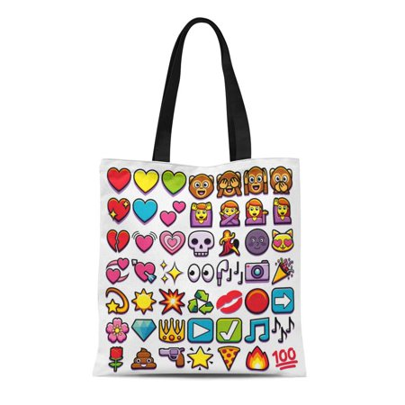 POGLIP Canvas Tote Bag Emoticon of Different Emojis Monkey Kiss Heart Star Mail Durable Reusable Shopping Shoulder Grocery Bag - image 1 de 1